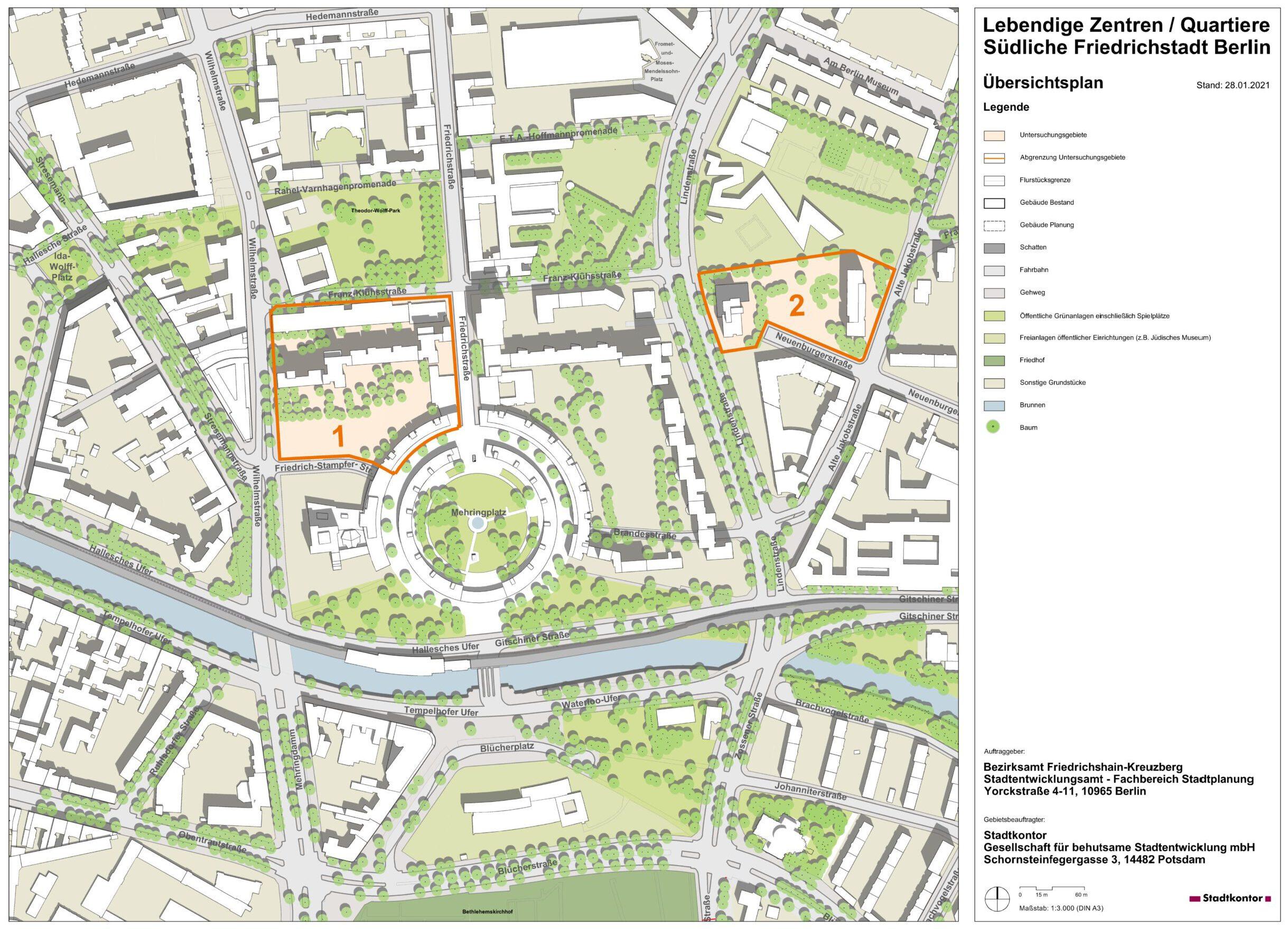 Lageplan mit Umgrenzung der Untersuchungsgebiete 1 und 2